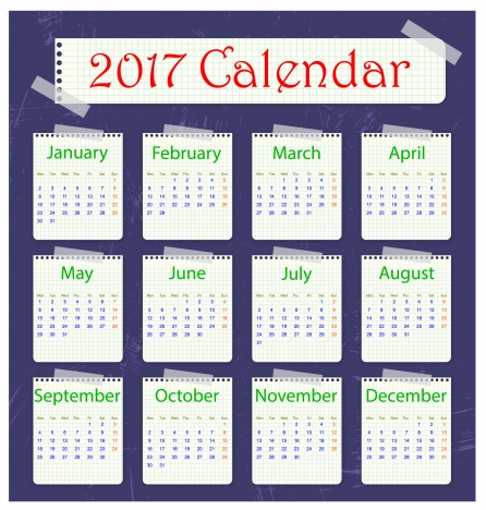note paper style 2017 calendar templates
