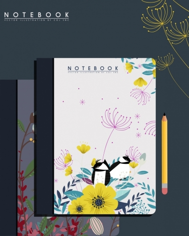 Notebook cover template nature theme flower bird decoration vectors ...