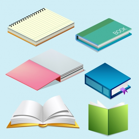 notebook icons collection multicolored 3d design