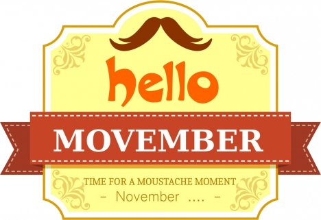 november mustache banner classical yellow design with ribbon