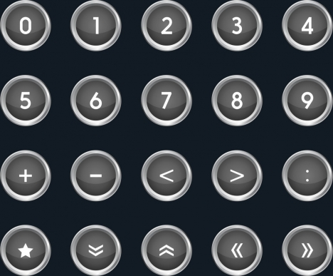 numbering signal button sets dark circles style