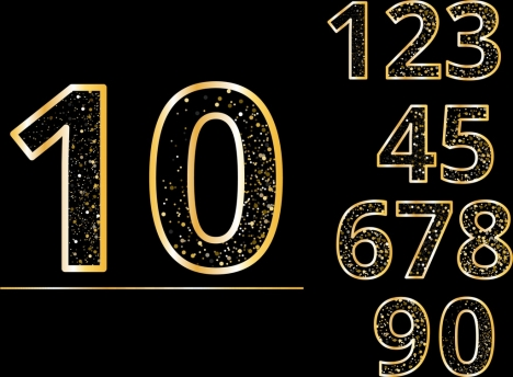 numbers background shiny sparkling yellow decor