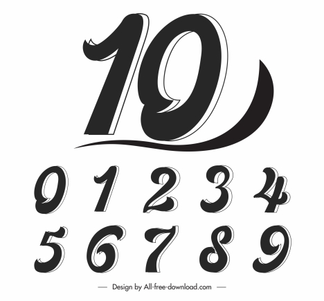 numbers icons black white flat italic bolded sketch