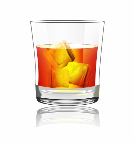Object whiskey with ice vector art