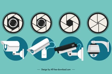 observation camera model icons flat lens sketch