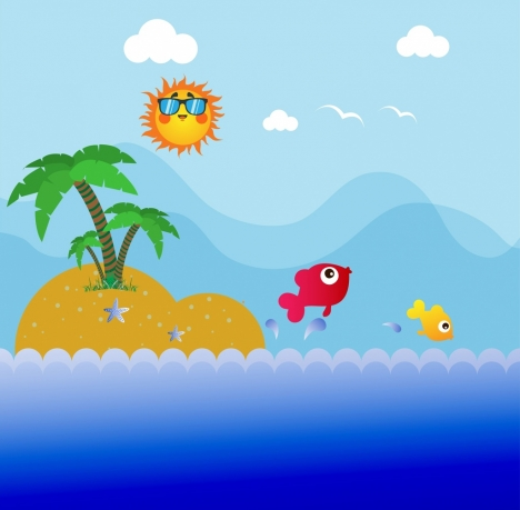 ocean background colorful tropical island icon cartoon style