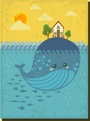 ocean drawing stylized whalve icon colorful cartoon design