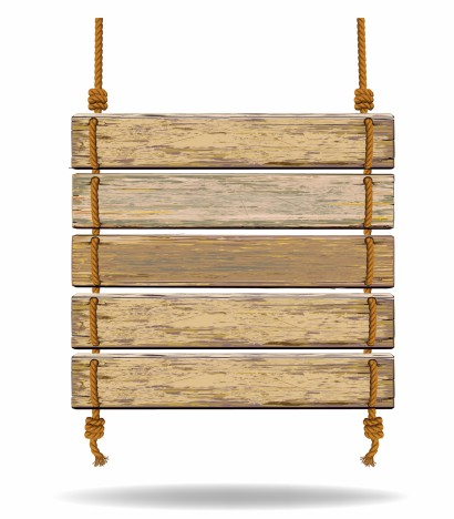 Old color wooden board with rope