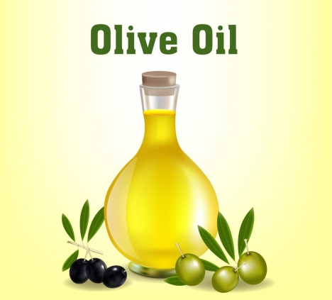 olive oil advertising glass jar fruit icons decor