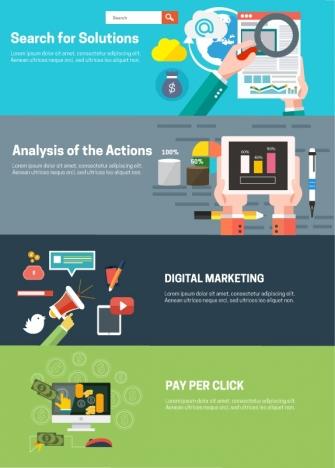 online business development elements illustration in webpage banners