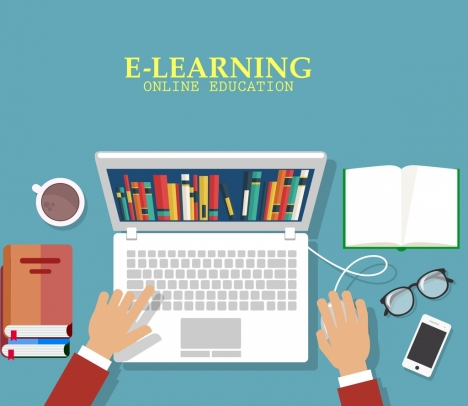 online education banner laptop hands tools icons