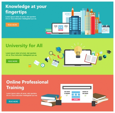 online education web design templates with horizontal style