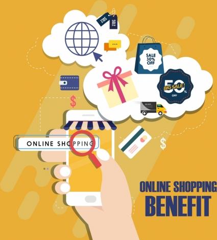 online shopping adverting background commerce design elements decor