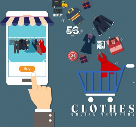 online shopping advertisement smartphone hand clothes trolley icons