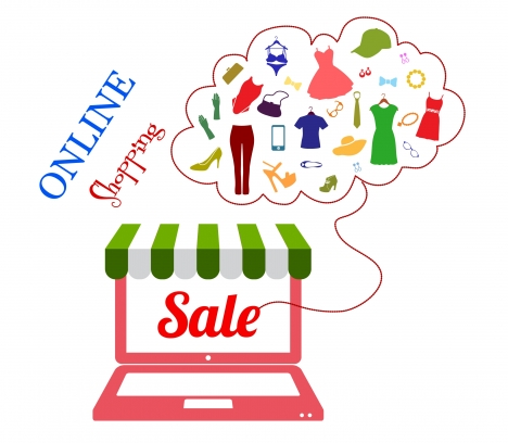 online shopping concept with laptop and clothes icons