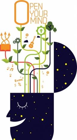 open mind concept banner brain tree lightbulb icons