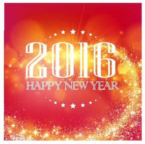 orange red 2016 happy new year background