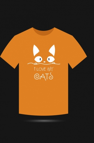 orange tshirt design cat face calligraphy decoration
