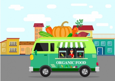 organic food advertising truck fruit icons colored cartoon