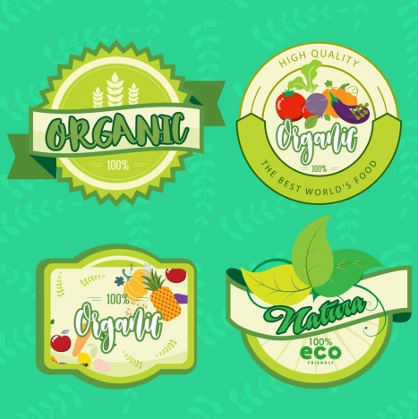 organic food labels collection fruit leaf icons decor