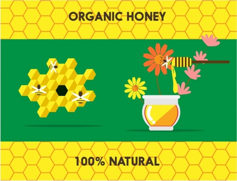 organic honey banner symbol elements on honeycomb background
