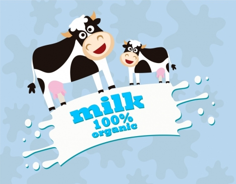 organic milk promotion banner splashing milk cows decoration