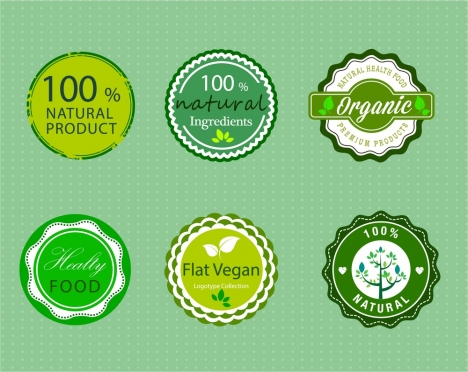 organic product promotion lables in green circles