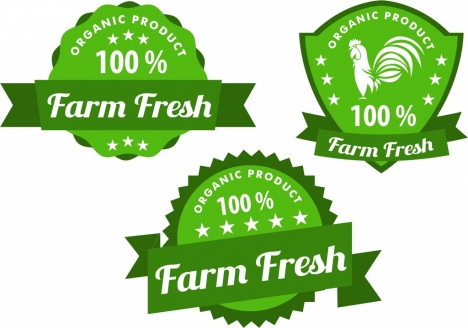 organic products labels collection various green shaped design