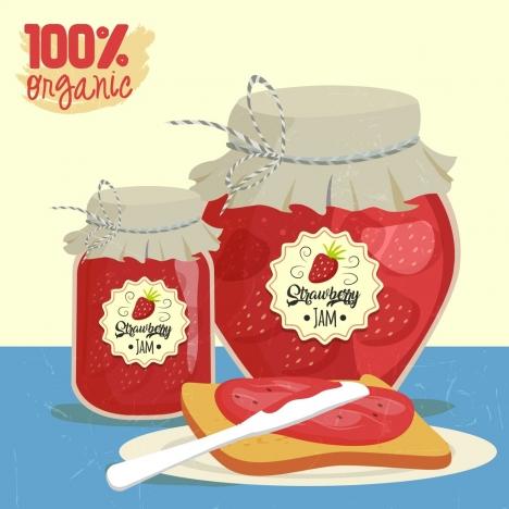 organic strawberry jam advertisement multicolored retro design
