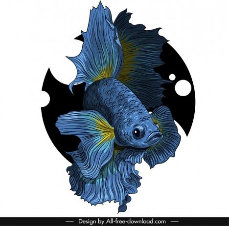 ornamental fish icon elegant gaudy design 3d sketch