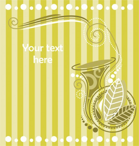 ornamental French horn silhouette with leaves and green stripes background