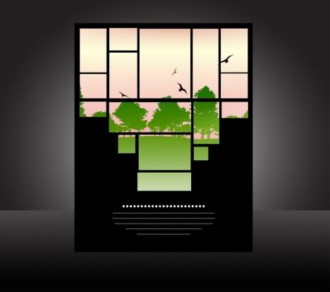 outdoor scenery background window view contrast birds decoration