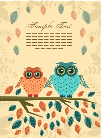 owl couple background colorful leaves ornament cartoon style
