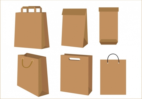 paper bags collection 3d blank design various types