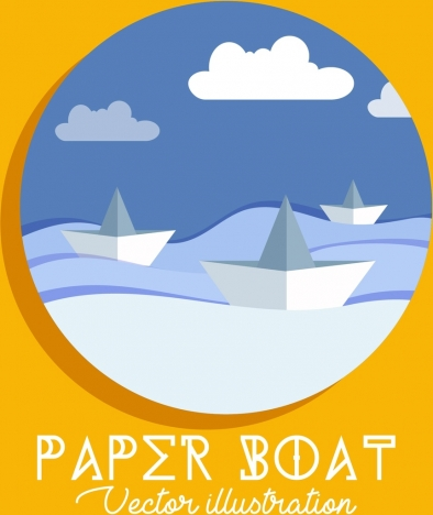paper boats background classical design circle isolation