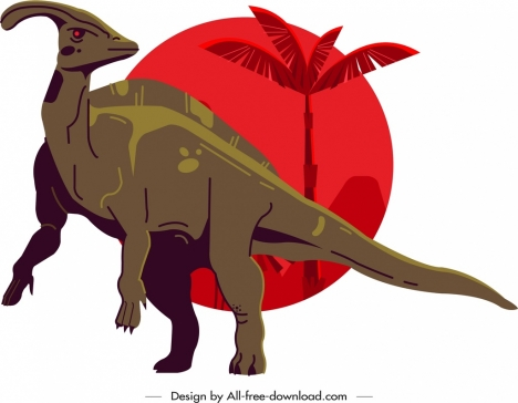 parasaurolophus dinosaur icon colored cartoon character sketch