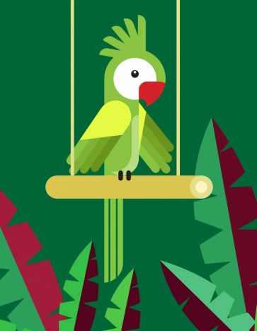 parrot background colorful classical flat design