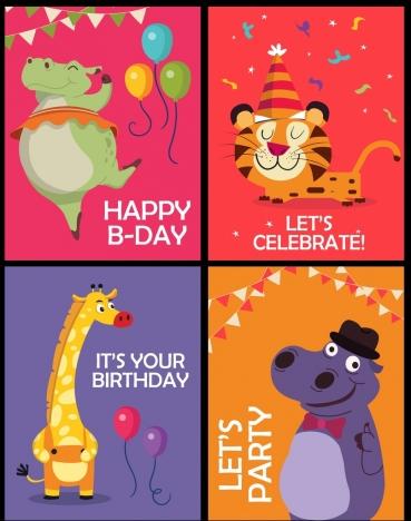 party celebration banner templates giraffe tiger hippopotamus icons