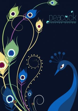 peacock background multicolored dark design curves ornament