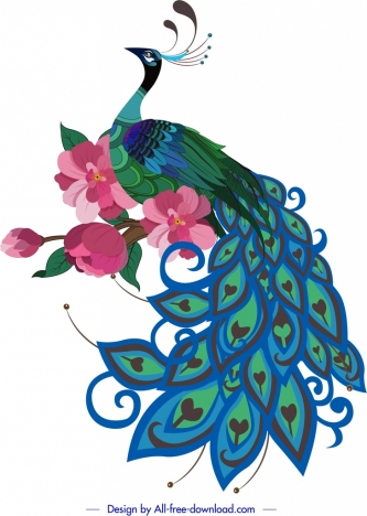 peacock painting colorful oriental sketch cherry blossom decor
