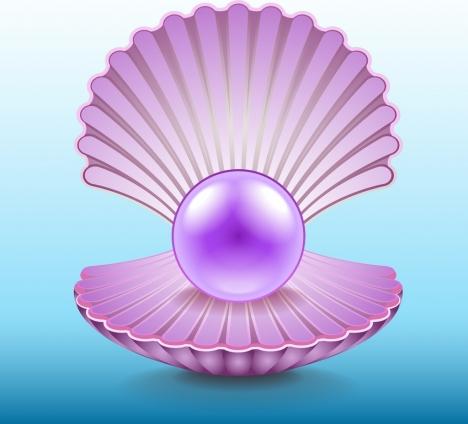 pearl shell icon bright shiny violet design