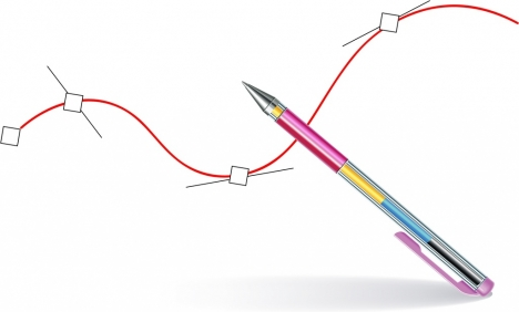 Pen Drawing Background Shiny 3d Decoration Line Icon Vectors Stock