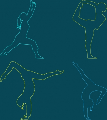 people doing exercise icons silhouette style outline