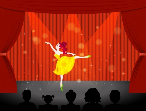 performing female ballerina icon sparkling red curtain stage
