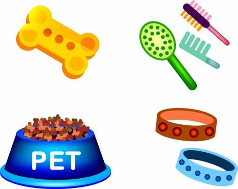 pet care products icons various colorful symbols