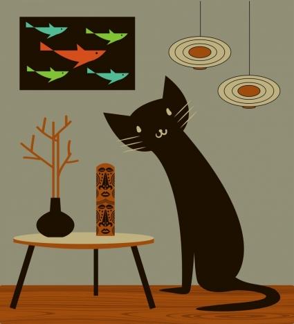 pet drawing black cat icon decor