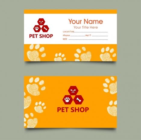 pet shop name card templates footprints decoration
