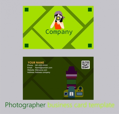 photographer name card design cameraman and tool illustration