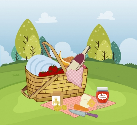 picnic painting colored static design basket food icons