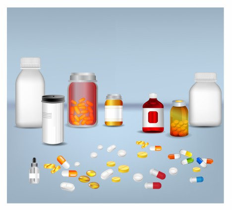 Pills tablets and medicines in plastic bottle